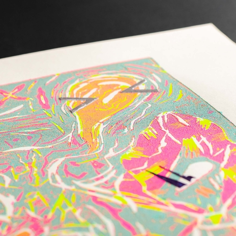 Limited-print woodblock printed design by Rafael Akahira